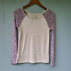 We the Free People Heathered Knit Colorblock Tee S